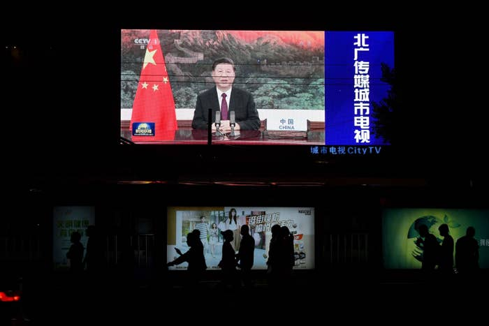 An image of Chinese President Xi Jinping appearing by video link at the United Nations 75th anniversary.
