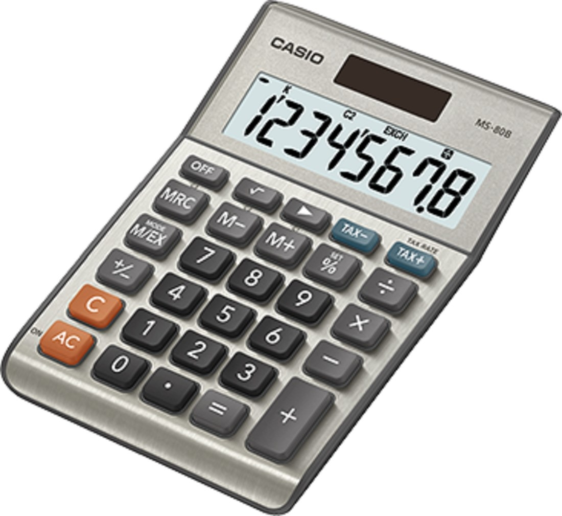 The gray calculator with large buttons