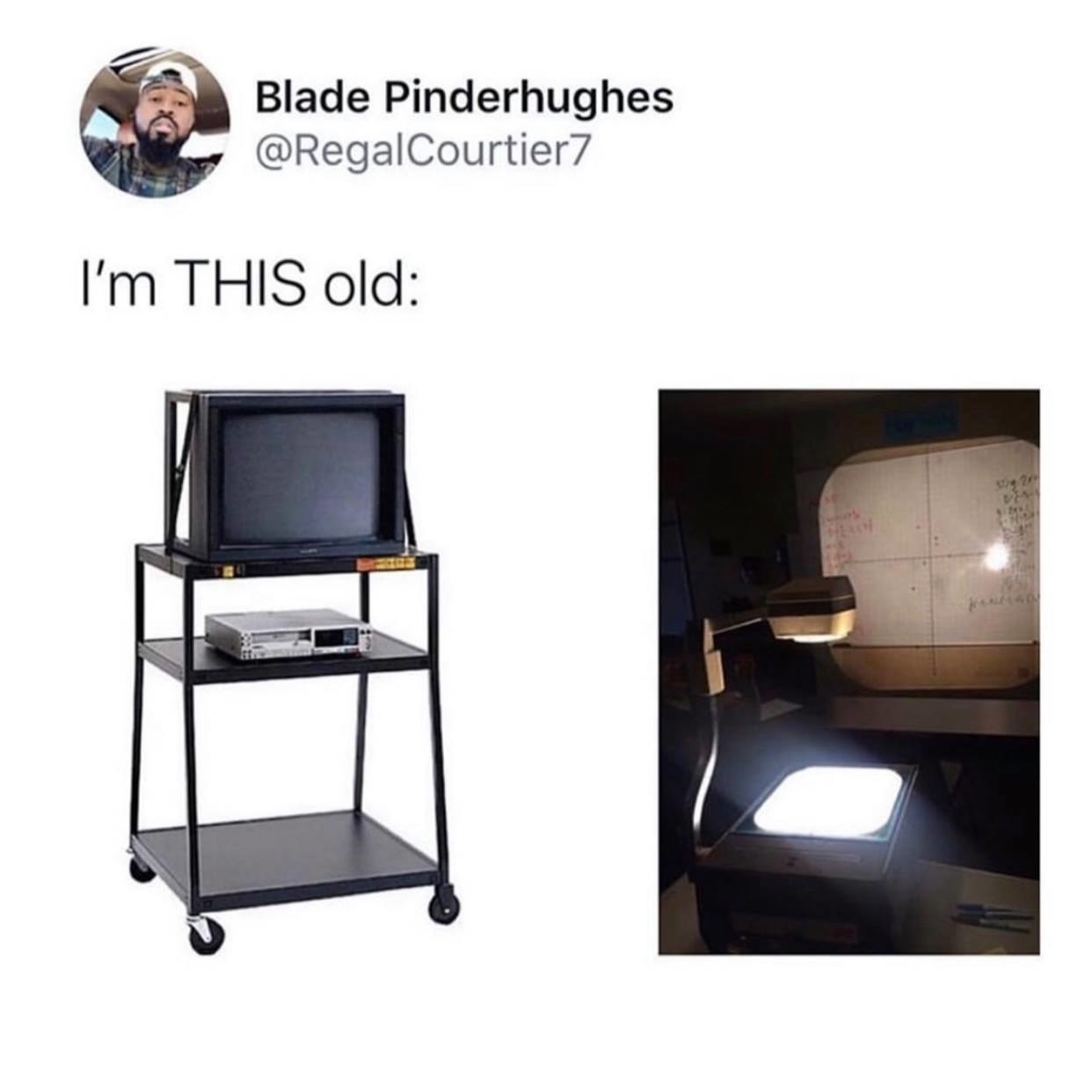 a classroom TV and an overhead projector