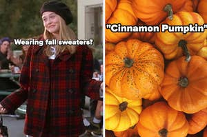 cher from clueless wearing fall clothes and pumpkins
