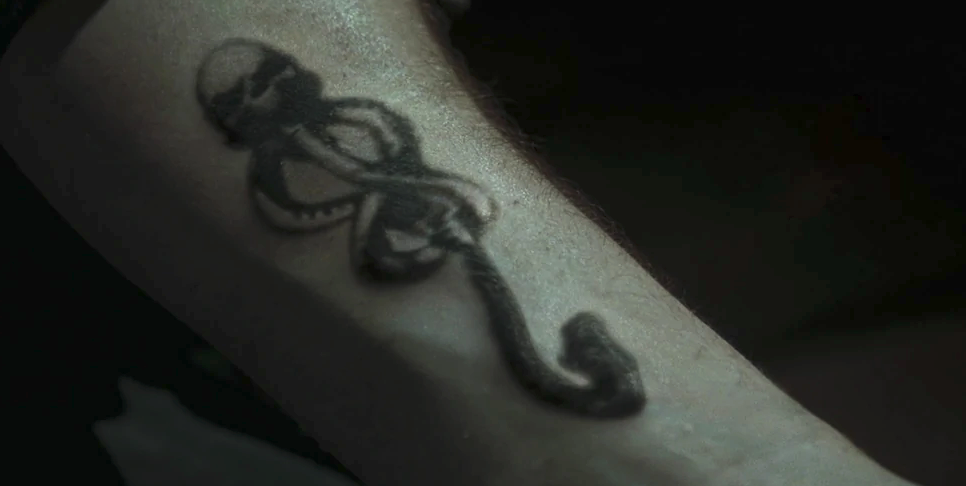 Barty Crouch Jr's arm with the Dark Mark