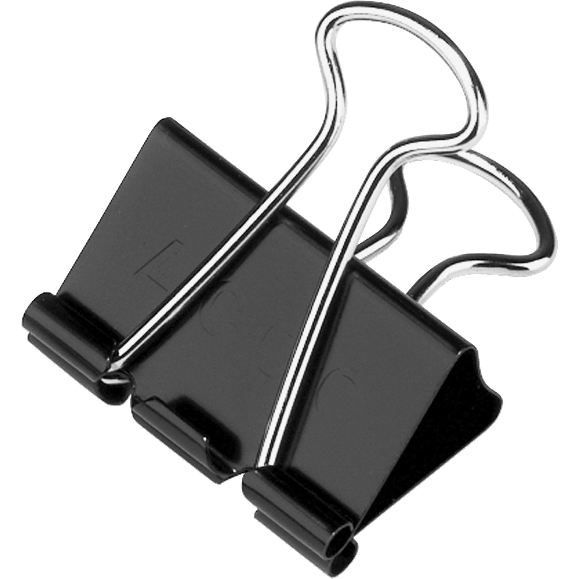 A black and silver binder clip