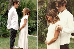 Christopher French and Ashley Tisdale posing for their pregnancy announcement