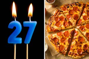 """On the left, birthday number candles that make """"27,"""" and on the right, a pepperoni pizza"""