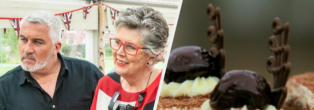 Paul and Prue side-by-side with a bake from a Cake Week on the show
