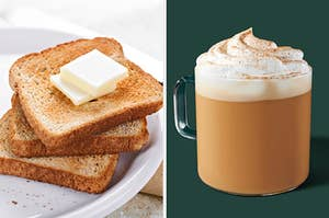 On the left, three slices of buttered toast, and on the right, a pumpkin spice latte