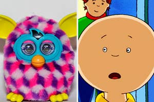 A Furby is on the left with Caillou looking surprised on the right