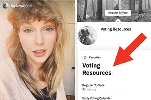 Taylor Swift next to a page of voting resources