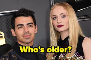 "Joe Jonas and Sophie Turner with the caption ""Who's older?"""