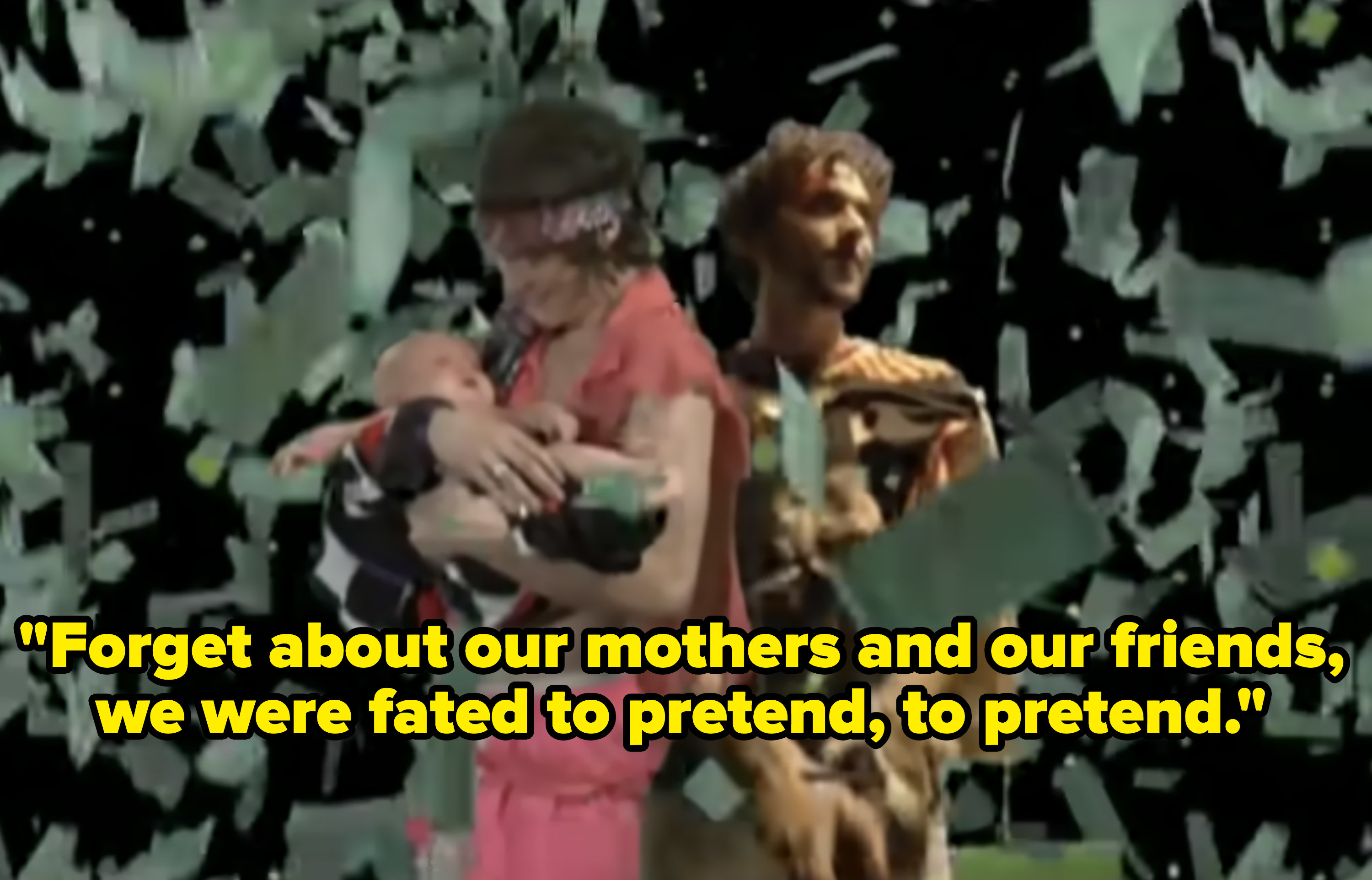 Psychedelic photo of MGMT in a room raining money while Andrew holds a baby.
