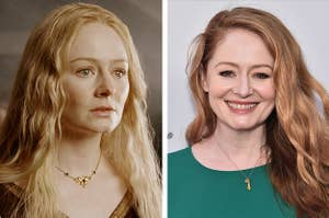 """Side-by-side of Éowyn in """"Lord Of The Rings"""" and Miranda Otto at a red carpet event"""