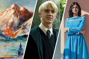 A mountain painting, Draco Malfoy, and a woman in a collared dress