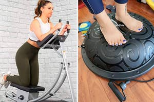 On the left, model uses silver ab cruncher in a home gym. On the right, reviewers stands on black balance ball to work their core