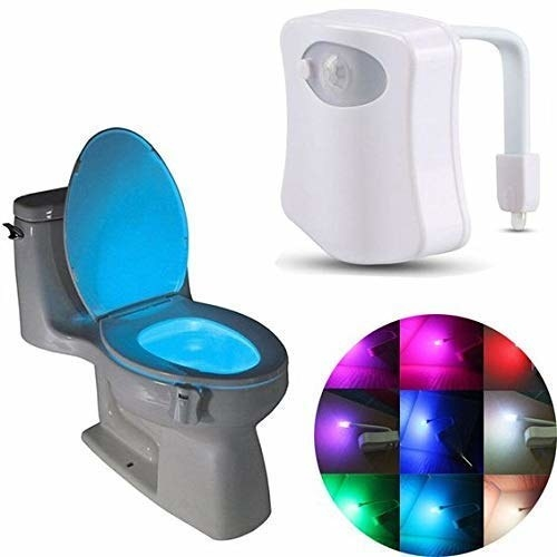 A toilet bowl light in different colours