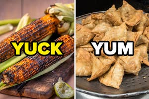 Some roasted corn and samosas