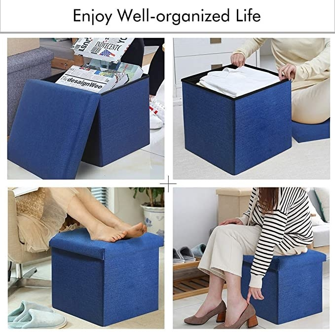 A collage of the ottoman being used in various ways like a stool, footrest, and a storage box.