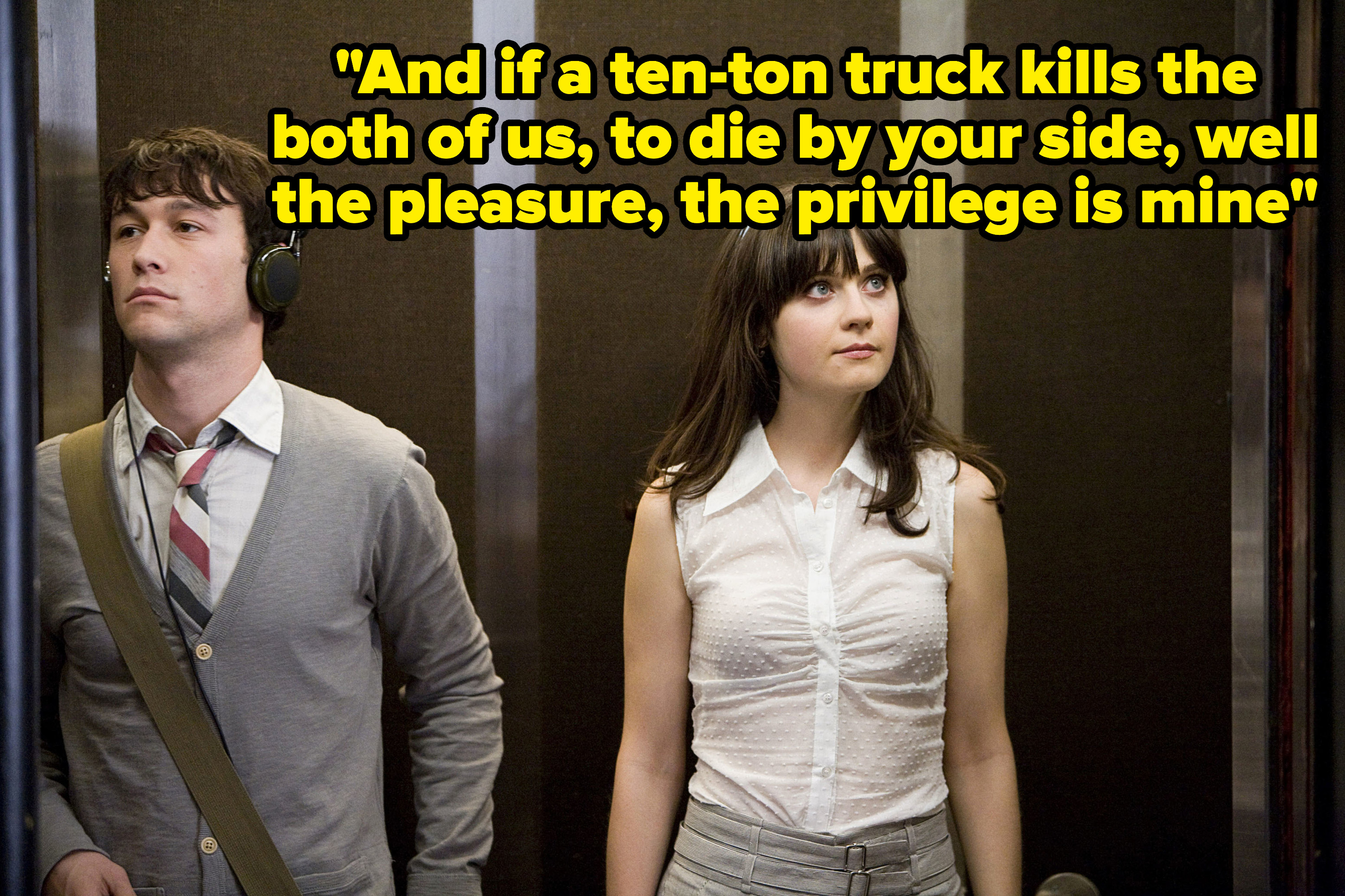 Tom and Summer in their work elevator.