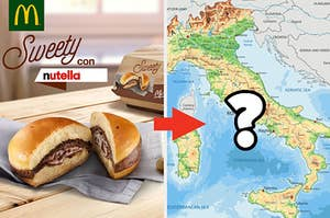 A McDonald's Sweety con Nutella with the image of a boot-shaped country's map next to it