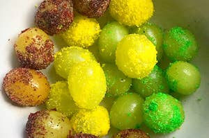 Frozen grapes with gelatin mix on them