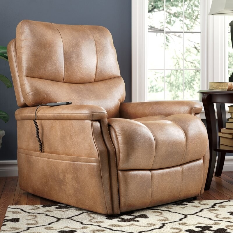 The tan recliner