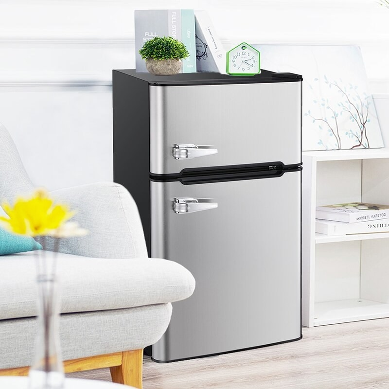 Stainless steel mini fridge with freezer and fridge doors
