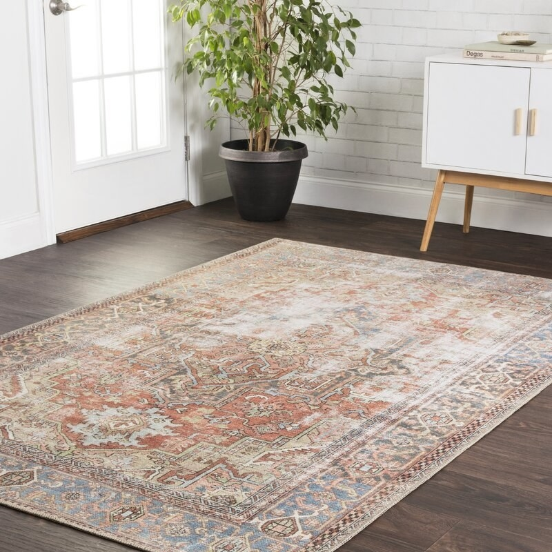 The red, blue, and tan patterned rug