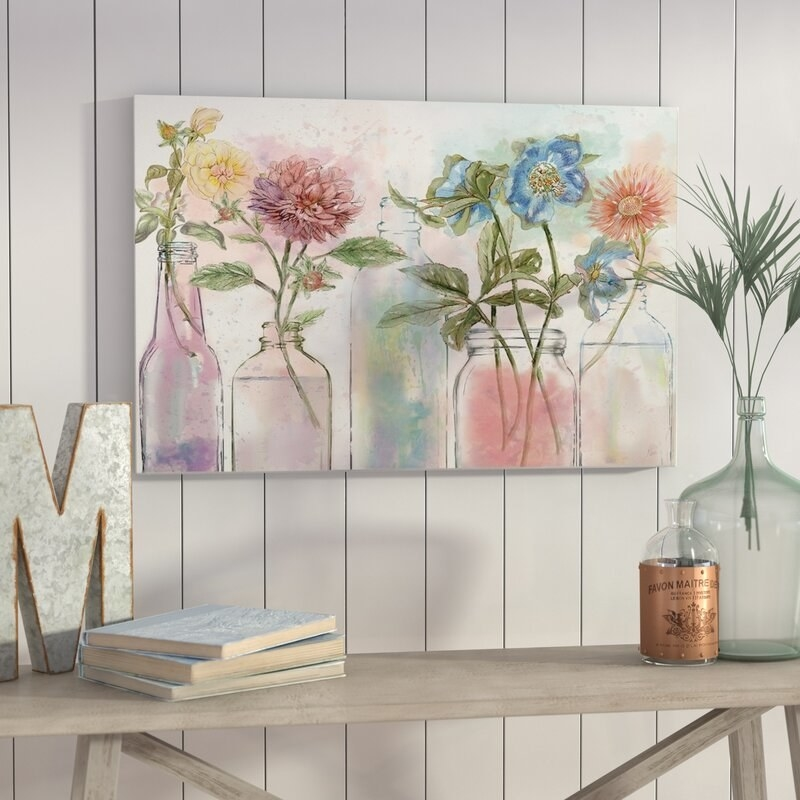 """An 18x27"""" print of five illustrated vases with watercolor flowers inside"""
