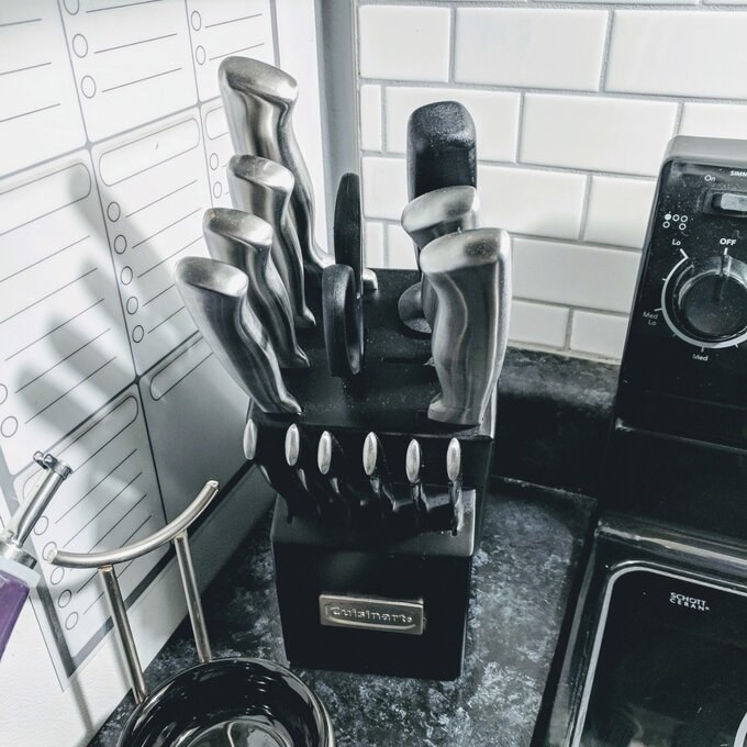 Reviewer image of the Cuisinart knife set on counter