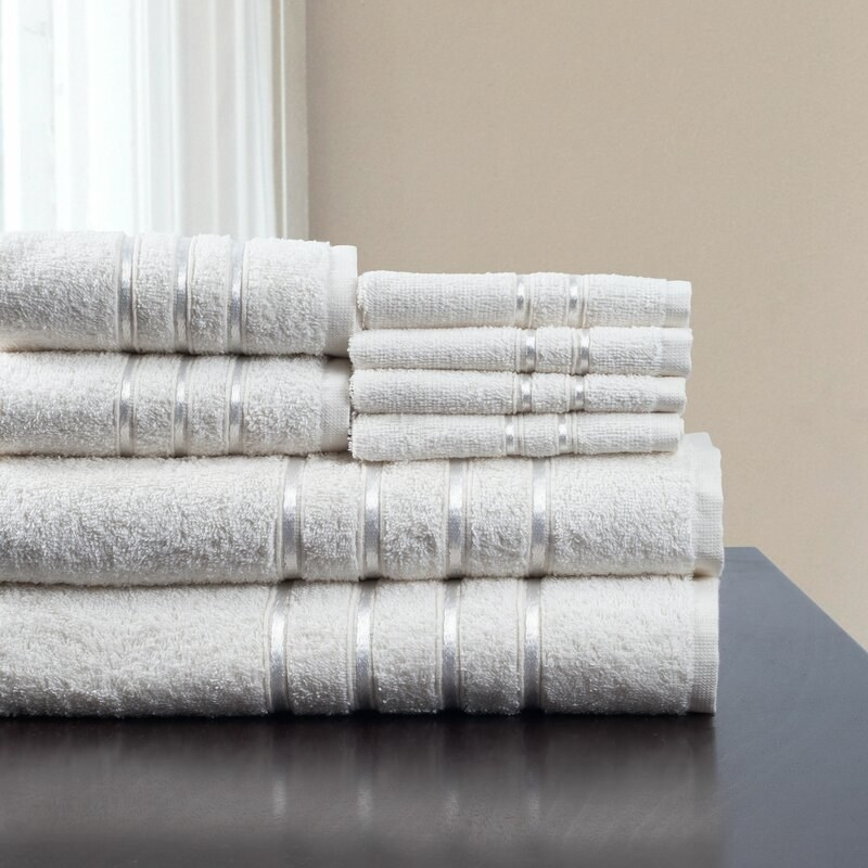 Plymouth Home eight piece towel set in white