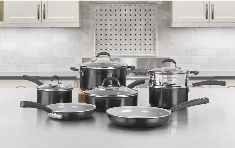 Cookware set with gray finish