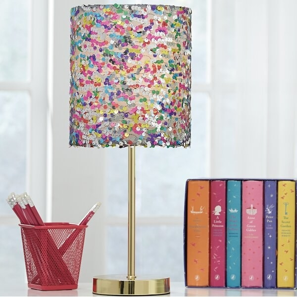 Rainbow sequin lampshade with gold base