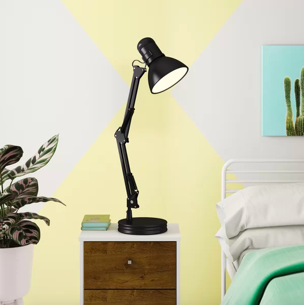 Black adjustable spotlight lamp