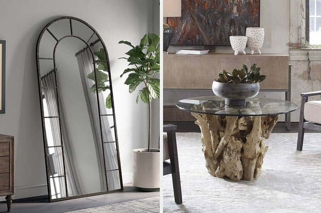 Side by side of arched standing mirror and driftwood coffee table