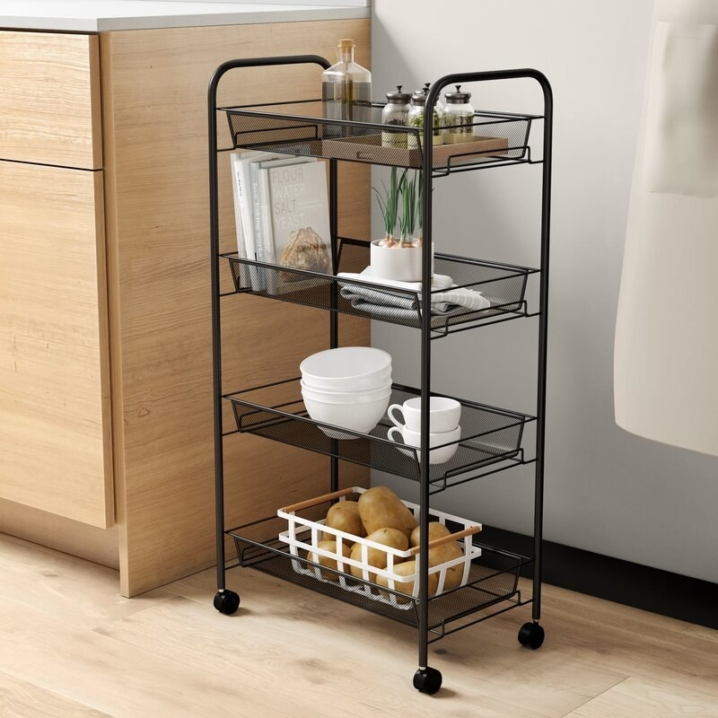 Black, four-tier storage rack with wheels for easy moving