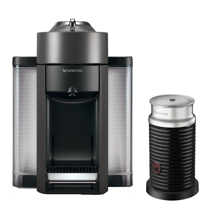 The Nespresso machine and milk frother