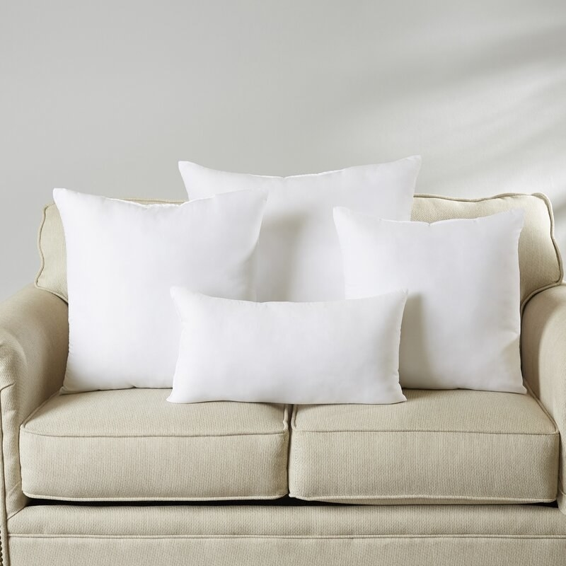 White pillow inserts in four sizes