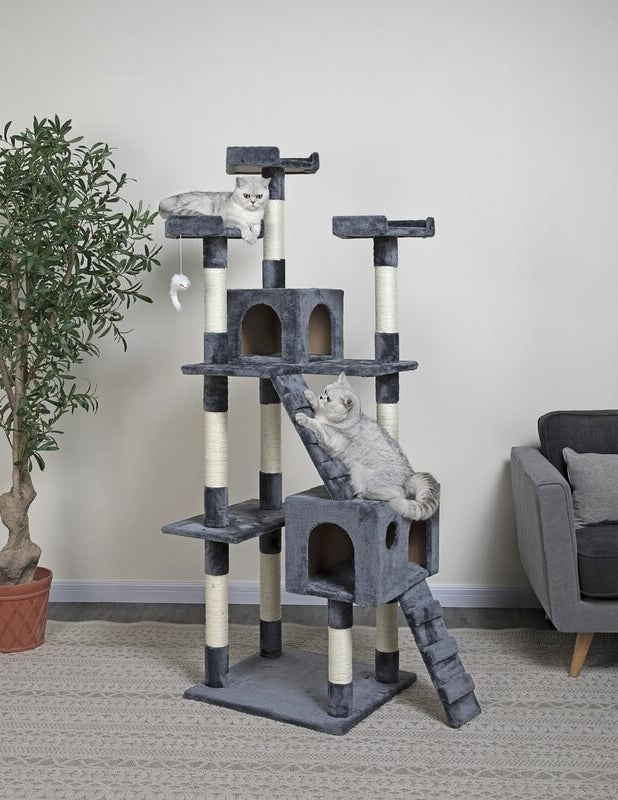 The tower, which has boxes for hiding and posts for scratching