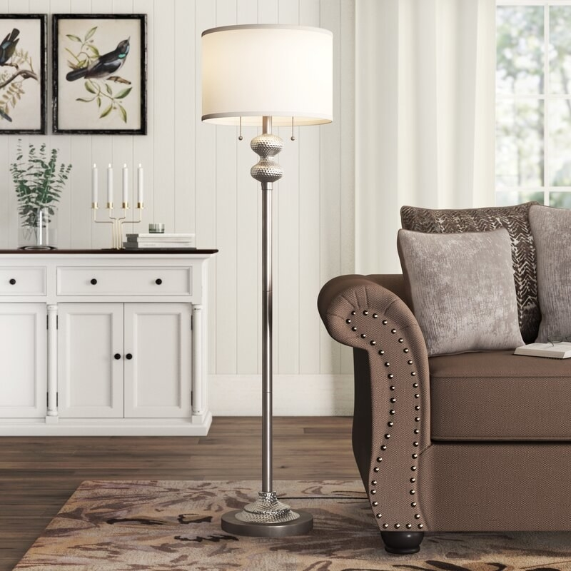 Silver floor lamp with ivory cover