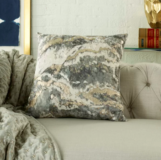 Square throw pillow with shiny metallic marble pattern
