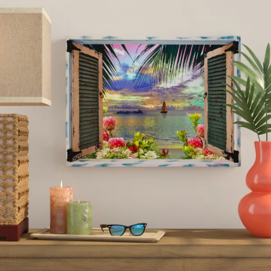 Optical illusion print that looks like open window on tropical island