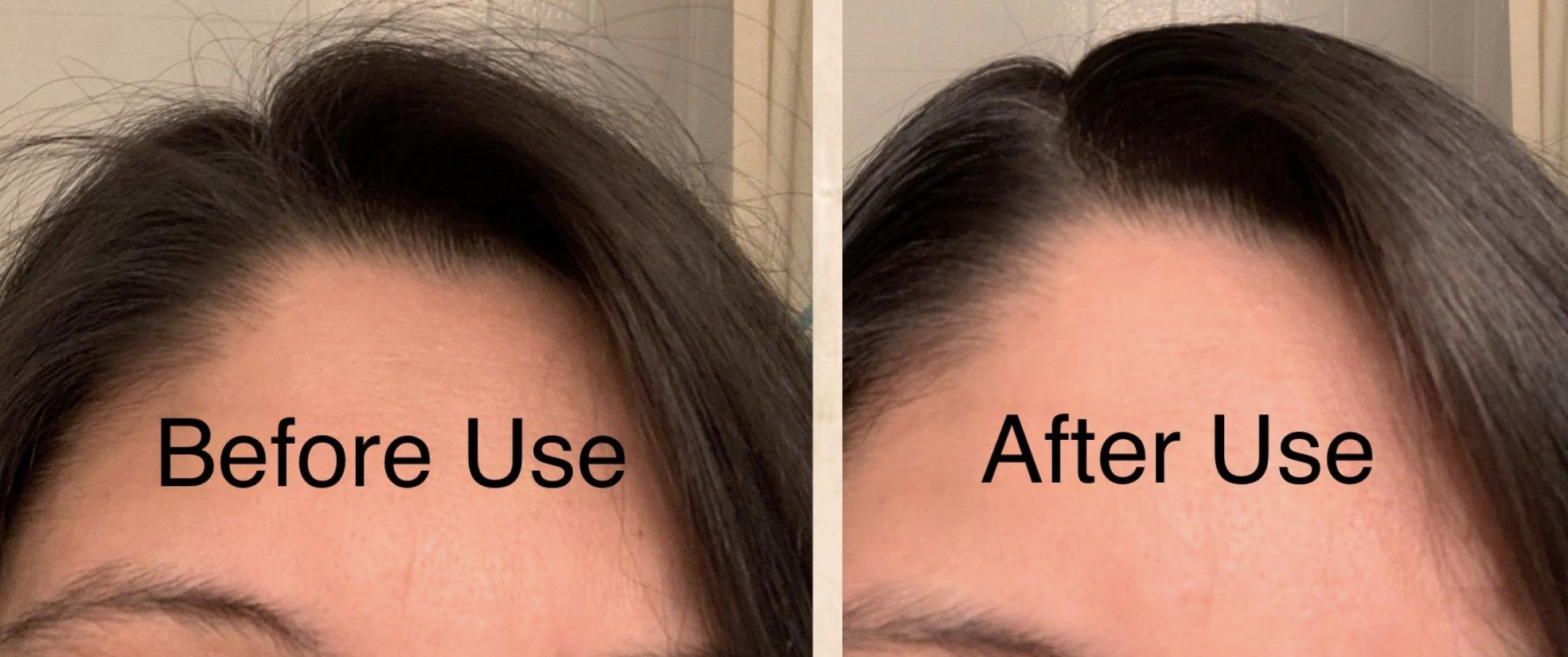 "before and after photo of reviewer with hair fly-aways on the left labeled ""before use"" and no visible flyaways on the right labeled ""after use"""