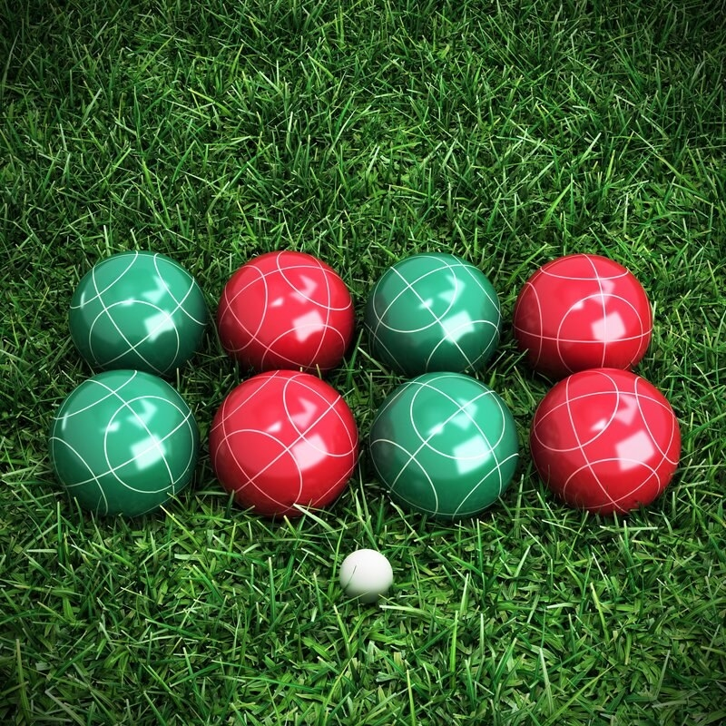 The red and green bocce set