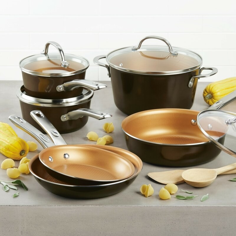 Ayesha Curry's home collection cookware set in brown