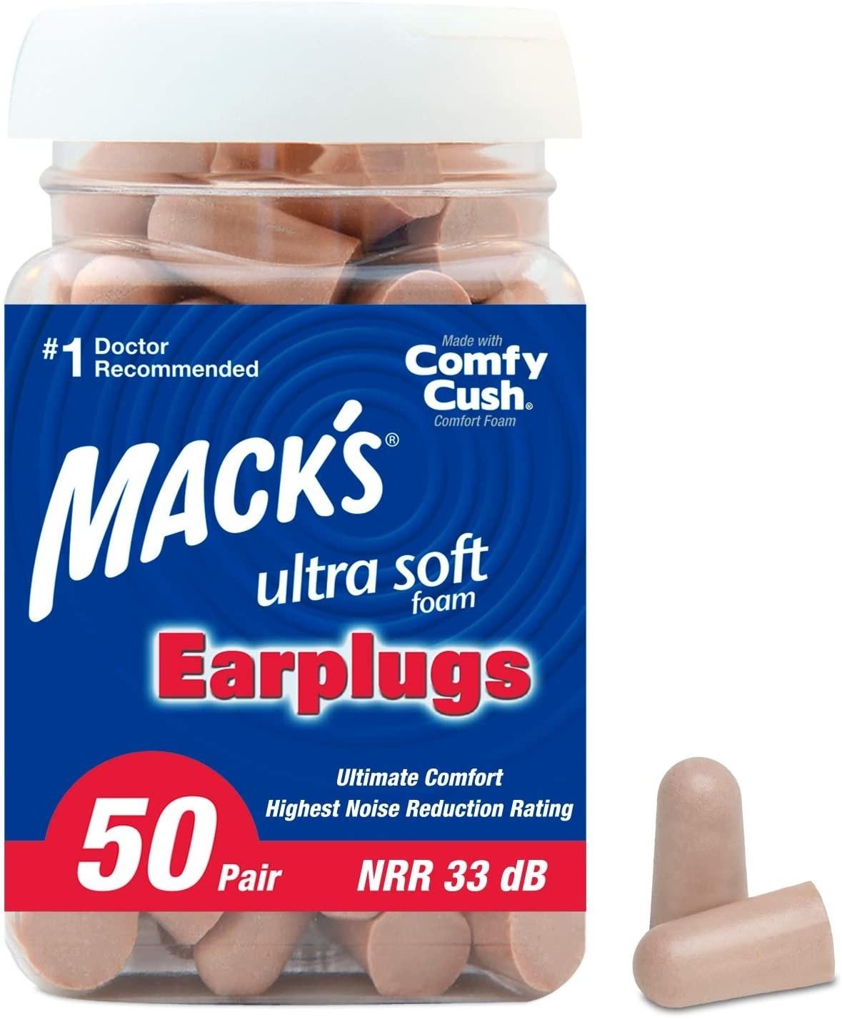 mack's ultra soft earplugs packaging