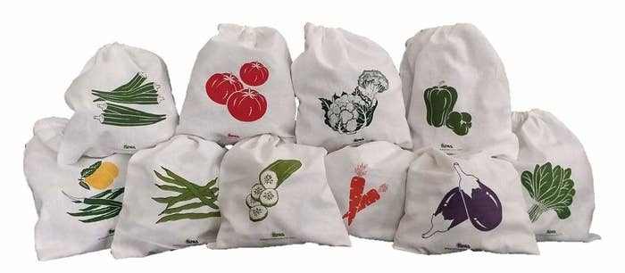 10 storage bags with a different type of vegetable printed on each one.