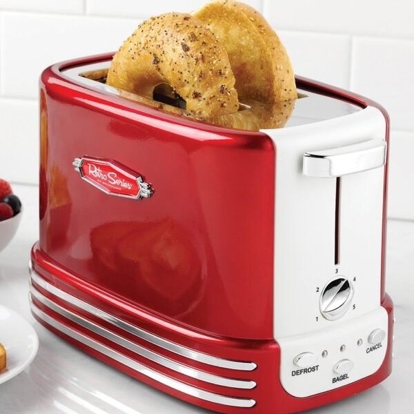 Red two-slice toaster with white details