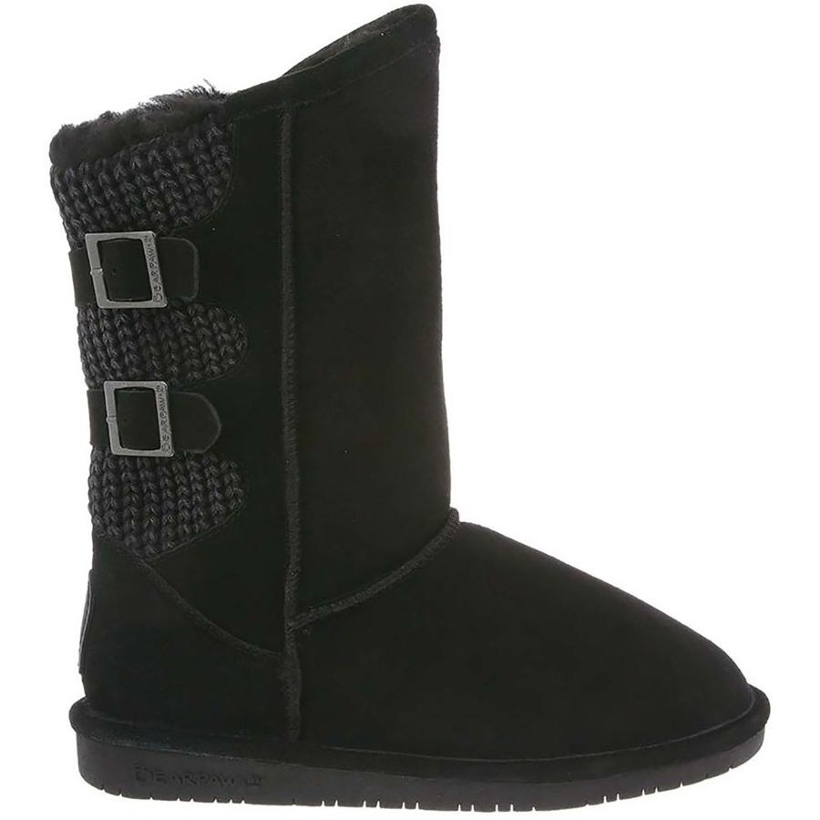 tall black suede comfy boots with knit back panel and two buckles