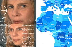 Confused thinking lady and world map