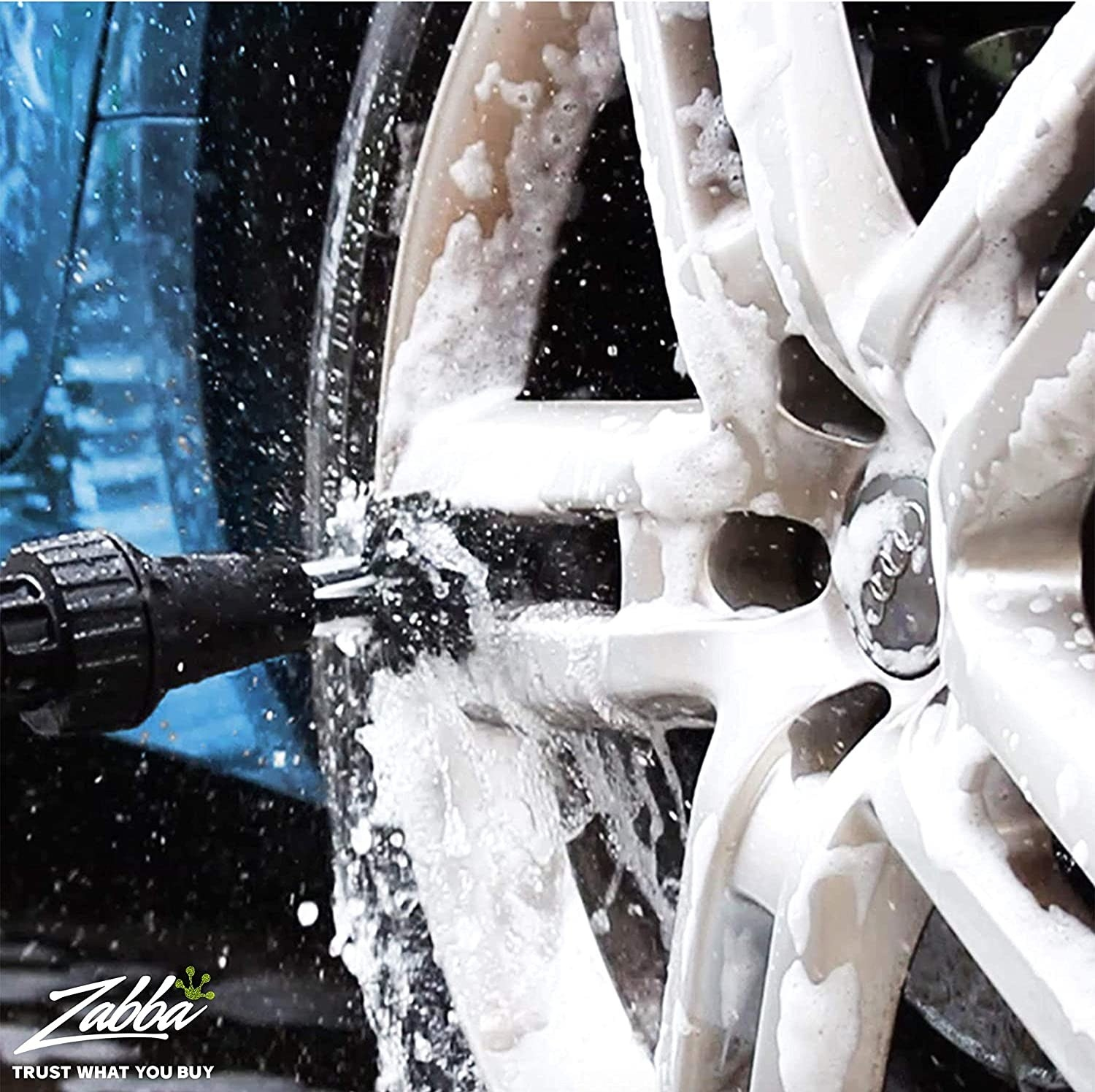 the brush cleaning a car tire