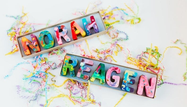 The colorful crayons  — the two names shown in the picture are Norah and Reagen